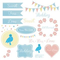cute wedding set elements invitation.
