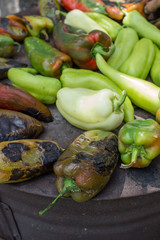 Roasted green peppers on the barbecue