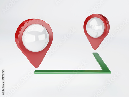 canvas print picture 3d map pointer. travel and navigation concept