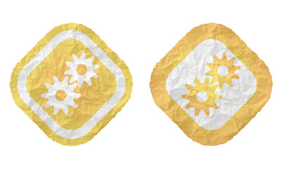 two frames with texture crumpled paper and cogwheels