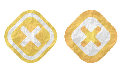 two frames with texture crumpled paper and multiplication symbol