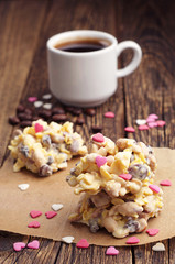 Sweet cookies with white chocolate and coffee