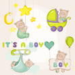 Постер, плакат: Baby BearSet for Baby Shower or Baby Arrival Cards in vector