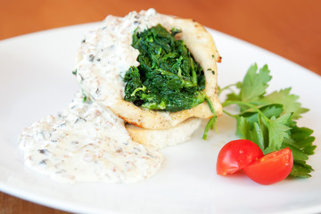 Squid stuffed with spinach