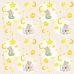 Baby Bear Seamless Pattern - for background, design, card