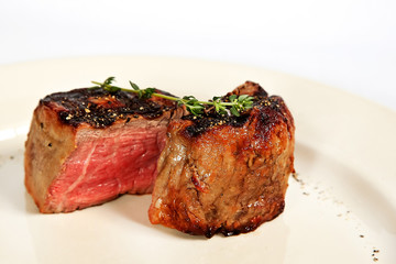 Filet mignon with rosemary twig