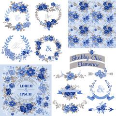 Vintage Floral Set - Frames, Ribbons, Backgrounds - for design