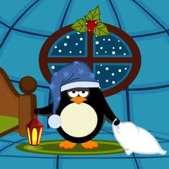 penguin goes to sleep - vector illustration, eps
