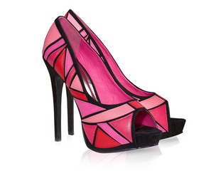 Glamour female high heel shoes.Isolated.