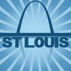 St Louis skyline reflected with blue sunburst illustration
