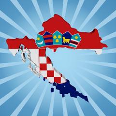 Croatia map flag on blue sunburst illustration