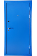 Blue steel security door, isolated on white background.
