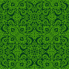 Dark green folk pattern