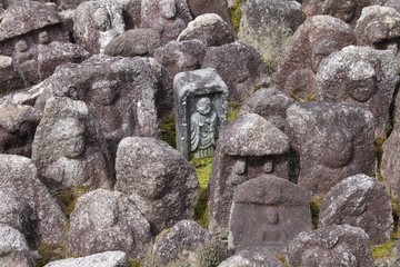 Kyoto, Japan - jizo statues at Daitoku-ji temple
