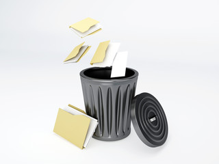 Trash folder on white background