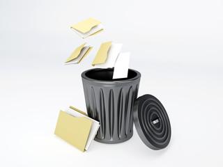 Trash folder on white background