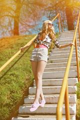Summer fashion photo cool stylish woman in sunglasses