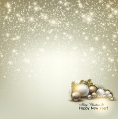 Elegant glowing Christmas background with place for text. Vector