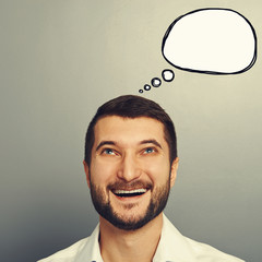 laughing man with empty speech bubble