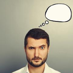 pensive man with speech bubble