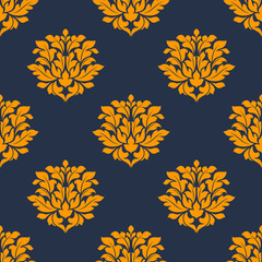 Orange colored floral seamless pattern