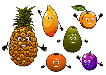 Cartoon fresh fruits set