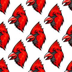 Red cardinal bird seamless pattern