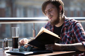 Man hipster book diary
