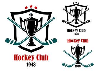 Ice hockey sporting symbols and emblems