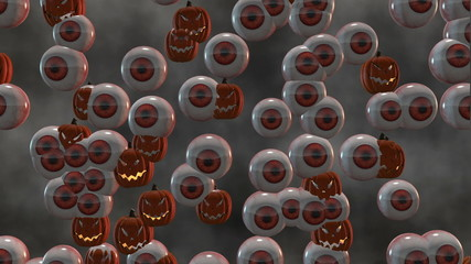 Looping Scary Halloween Jack-o'-Lanterns and Eyeballs Morph