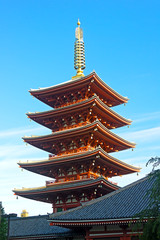 Ornate five-storey pagoda at Sensoji Temple in Tokyo, Japan
