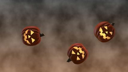 Bouncing Smiling Halloween Jack-o'-Lanterns