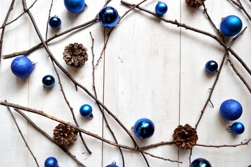 Blue Christmas ornament balls with pine cones