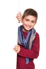 Boy holding a white placard