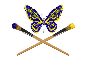 Yellow and blue painted butterfly hover above crossed paintbrush