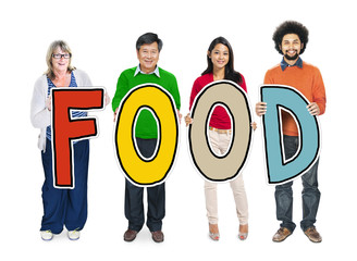 Multiethnic Group of People Holding Text Food