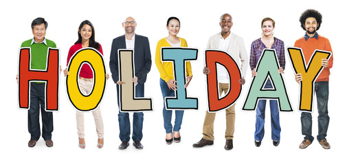 Multiethnic Group of People Holding Letter Holiday
