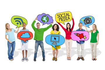 People Holding Social Media Symbols