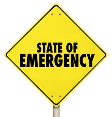 State of Emergency Yellow Warning Road Sign