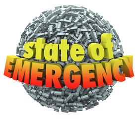 State of Emergency 3d Words Exclamation Mark Point Sphere