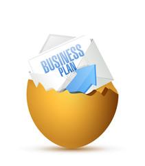 business plan inside a broken egg. illustration