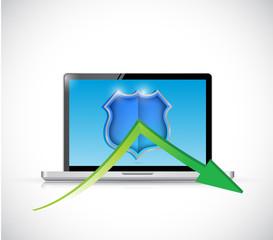 laptop shield protection illustration design