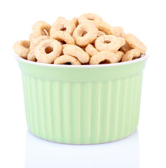 Dry breakfast in a small round bowl on white background