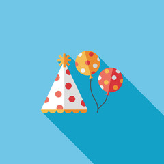 Birthday hat and balloons flat icon with long shadow,eps10