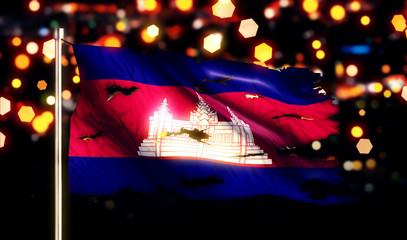 Cambodia National Flag Torn Burned War Freedom Night 3D