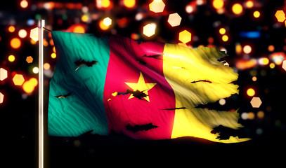 Cameroon National Flag Torn Burned War Freedom Night 3D