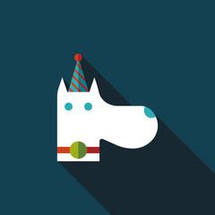 dog birthday flat icon with long shadow,eps10