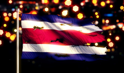 Costa Rica National Flag Torn Burned War Freedom Night 3D