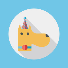 dog birthday flat icon with long shadow,eps10