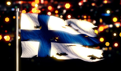 Finland National Flag Torn Burned War Freedom Night 3D